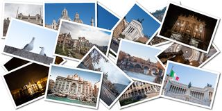 Postkartencollage von Rom, Italien Stockbilder