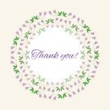 Postkartendankbarkeit mit romantischen Blumen und Licht vektor abbildung