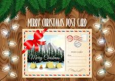 Postkartendesign der frohen Weihnachten auf der hölzernen Tabelle Lizenzfreie Stockfotografie