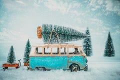 Postkartenhintergrund der Weinlese-frohen Weihnachten lizenzfreies stockbild
