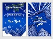 Postkartenschablone des neuen Jahres Stockfotografie