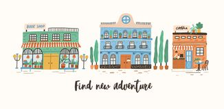 Postkartenschablone mit Speicher, Café und Bürogebäuden auf Straße der europäischen Stadt und neues Abenteuer Motiv finden stock abbildung