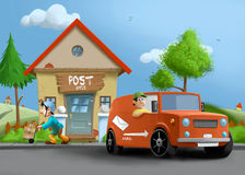 Postkontorstation stock illustrationer