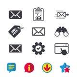 Postkuvertsymboler Meddelandesymboler royaltyfri illustrationer