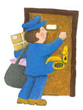 Postman. Acrylic illustration of cute postman Stock Photography