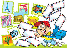 Postman. The illustration shows the boy-postman who delivers letters. Illustration done in cartoon style Royalty Free Stock Photo