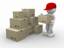 Postman. 3d people - human character, person with stacking cardboard boxes. Postman. 3d render Royalty Free Stock Photo