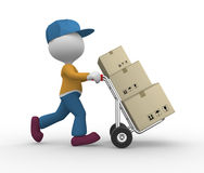 Postman. 3d people - man, person with hand truck and packages. Postman Stock Photo