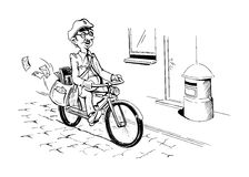 Postman. Mail man on a bicycle bringing mail Stock Photography