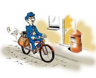 Postman. Mail man on a bicycle bringing mail Stock Images