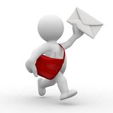 Postman. 3d postman with envelope and bag