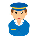 Postman Avatar Flat Icon Isolated on White. Avatar flat icon series: caucasian mailman with blue uniform and hat, isolated on white background. Eps file Royalty Free Stock Image