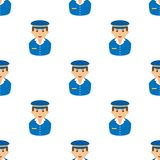 Postman Avatar Flat Icon Seamless Pattern. A seamless pattern with a caucasian mailman avatar with blue uniform and hat, isolated on white background. Useful Stock Image