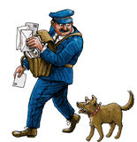 Postman and barking dog Royalty Free Stock Images
