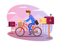 Postman on bicycle delivers letters Royalty Free Stock Image