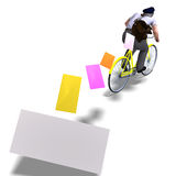 Postman on a bike with invitations. 3D rendering Stock Photography
