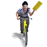 A postman on a bike with a letter Royalty Free Stock Images