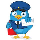Postman Blue Bird. Clipart Picture of a Postman Blue Bird Cartoon Character Stock Photo