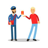 Postman in blue uniform with red bag giving a parcel to a man cartoon character, express delivery mail vector Royalty Free Stock Photography