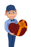 Postman with a box as a heart to the Valentine's day Stock Photography