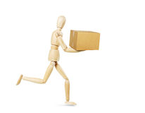 Postman carries a box Royalty Free Stock Photo