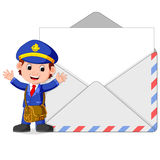 Postman cartoon with big letter. Illustration of postman cartoon with big letter Stock Photography