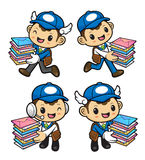 Postman Character is having delivered bundle of letters. Stock Photos