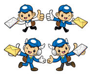 Postman Character is having delivered letter. Stock Photography