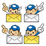 Postman Character holding a big Letter. Royalty Free Stock Photos