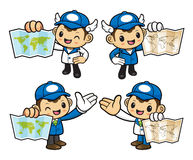 Postman Character holding a Paper Map. Royalty Free Stock Image