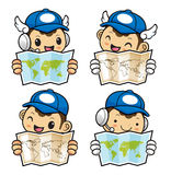 Postman Character holding a Paper World Map with both hands.. Stock Image