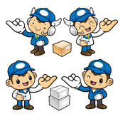 Postman Character is hook pinkies and make a promise. Royalty Free Stock Photography