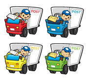 Postman Character is a letter delivered by trucks. Stock Photos