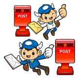 Postman Character and mailbox. Royalty Free Stock Photo