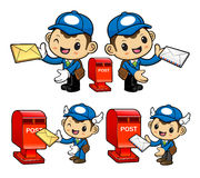 Postman Character and Postbox Stock Image