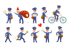 Postman Characters with Bags and on Bike Set. Stock Images