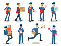 Postman characters doing their job set. Cheerful mailmen in different situations cartoon vector Illustrations Stock Photos