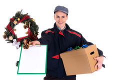 Postman  Christmas delivery Stock Photo