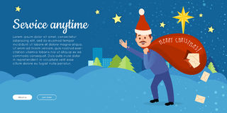 Postman in Christmas Hat Hurry to Deliver Letters. Royalty Free Stock Photo