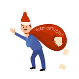 Postman in Christmas Hat Hurry to Deliver Letters. Royalty Free Stock Photos