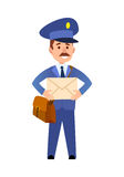 Postman Delivering Letter Isolated Cartoon Vector. Postman cartoon character in blue uniform delivering letter flat vector illustration isolated on white Royalty Free Stock Image
