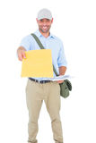 Postman delivering letter on white background Royalty Free Stock Photo