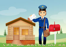 Postman delivering letters Stock Photography