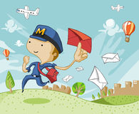 Postman delivering love letter mail. Top and bottom are expandable for text vector illustration