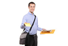 A postman delivering mail Royalty Free Stock Photos
