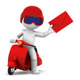 A postman delivering mail. Isolated. Postman with scooter delivering mail. Isolated Stock Images