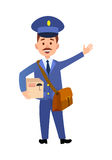 Postman Delivering Parcel Isolated Cartoon Vector. Postman cartoon character in blue uniform delivering parcel flat vector illustration isolated on white Stock Photography