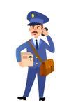 Postman Delivering Parcel Isolated Cartoon Vector. Postman cartoon character in uniform delivering parcel flat vector illustration isolated on white background Stock Photos