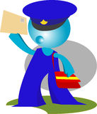 Postman delivers mail in action. Postman delivers mail cartoon illustration royalty free illustration