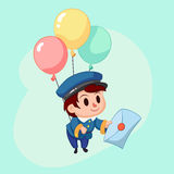 Postman delivery mail. Friendly post man in blue uniform with letter. Funny cartoon  illustration Royalty Free Stock Image
